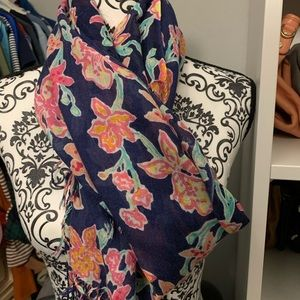 Lilly Pulitzer Blue Floral Scarf